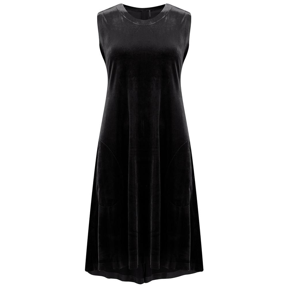 Sleeveless Swing Velvet Dress - Black