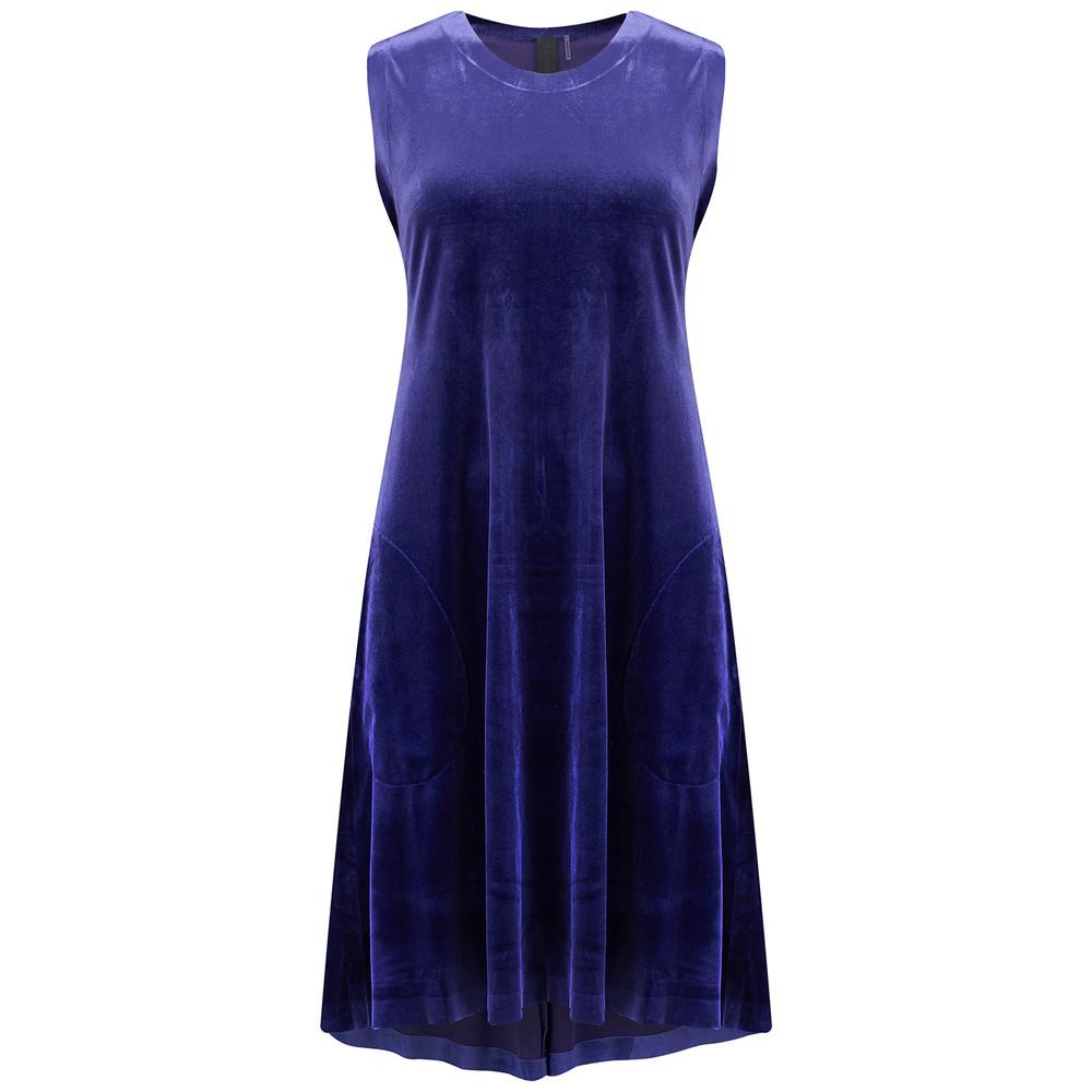 Sleeveless Swing Velvet Dress - Purple
