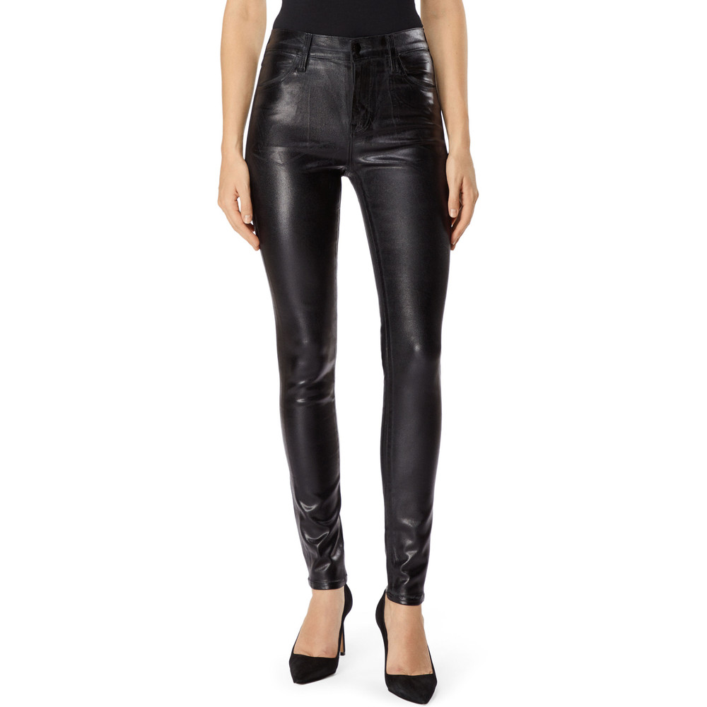 Maria High Rise Coated Skinny Jeans - Galactic Black