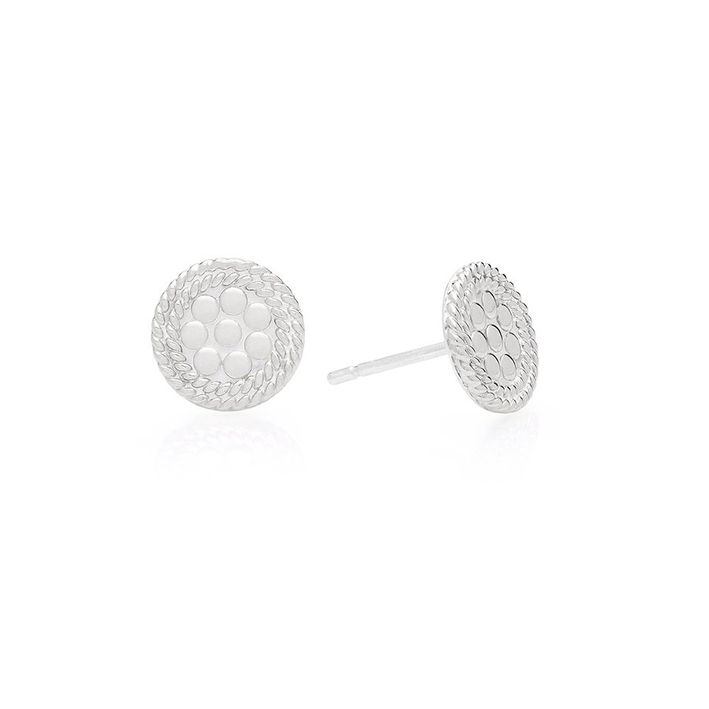 Tiny Circle Stud Earrings - Silver