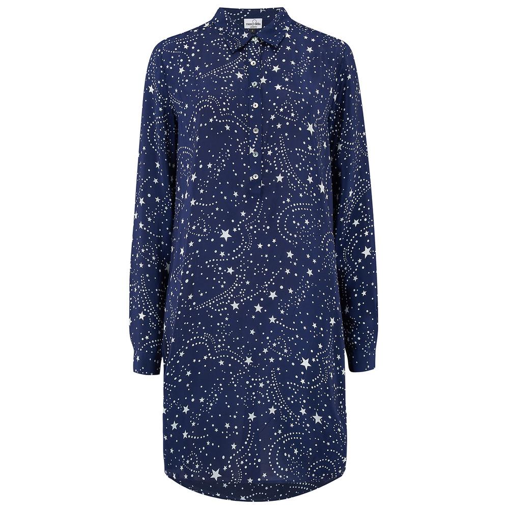 Wilton Silk Shirt Dress - Galaxy True Blue