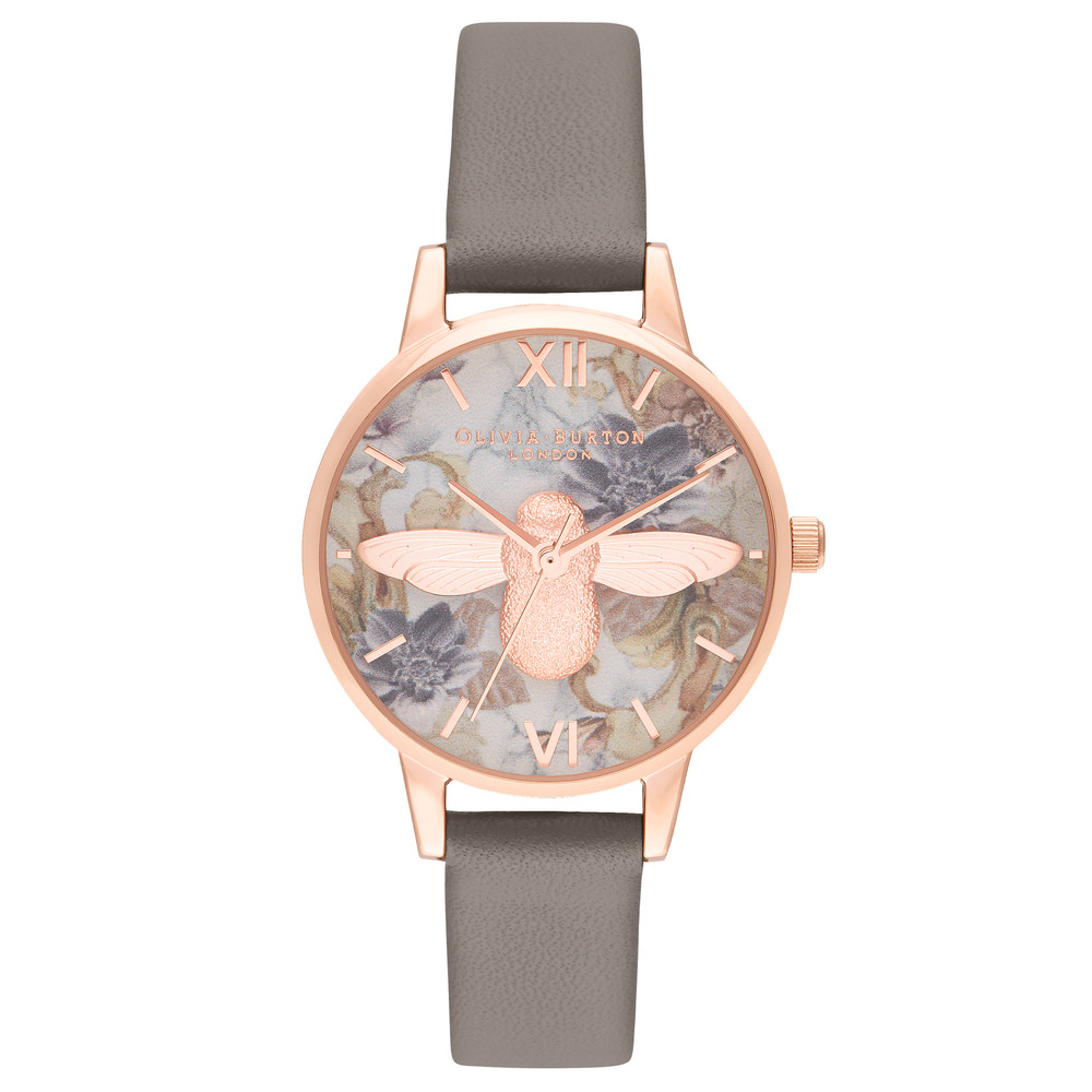 Marble Florals Midi 3D Bee Watch - London Grey & Rose Gold