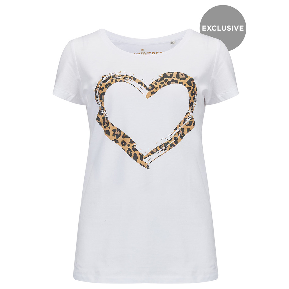 Heart Leopard T-Shirt - White & Leopard