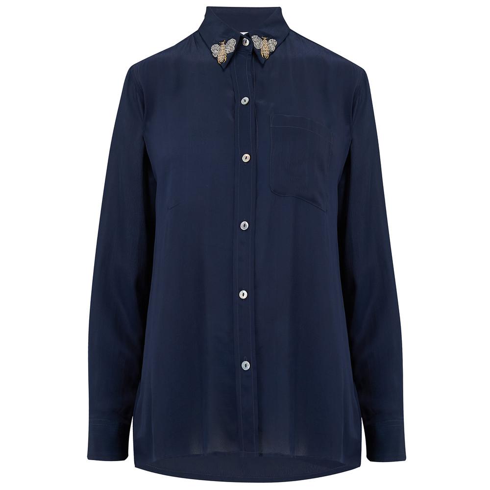 Goodwood Embellished Shirt - Queen Bee True Blue