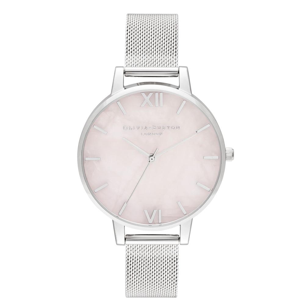 Semi Precious Big Dial Mesh Watch - Silver & Rose Quartz