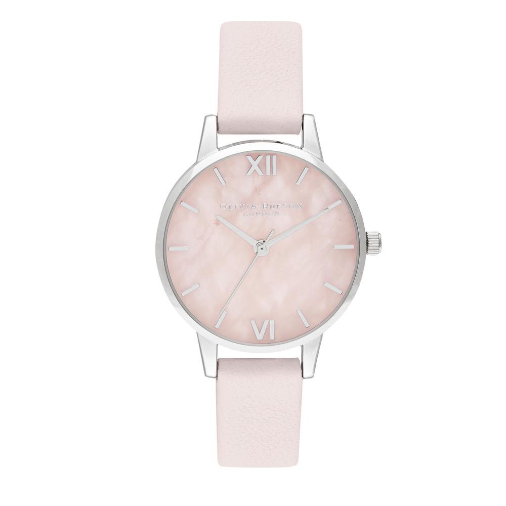 Semi Precious Midi Dial Watch - Rose Quartz, Blossom & Silver