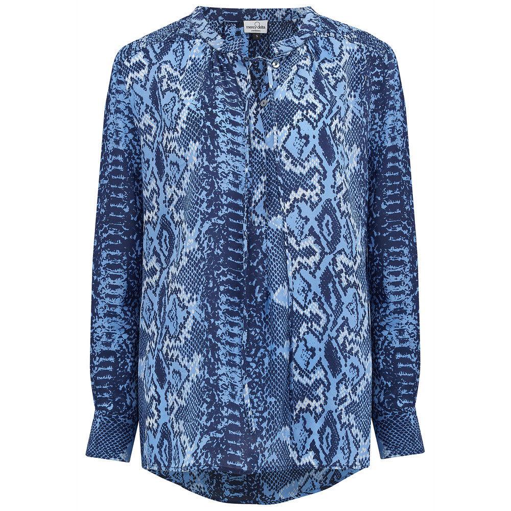 Stowe Silk Blouse - True Blue Python