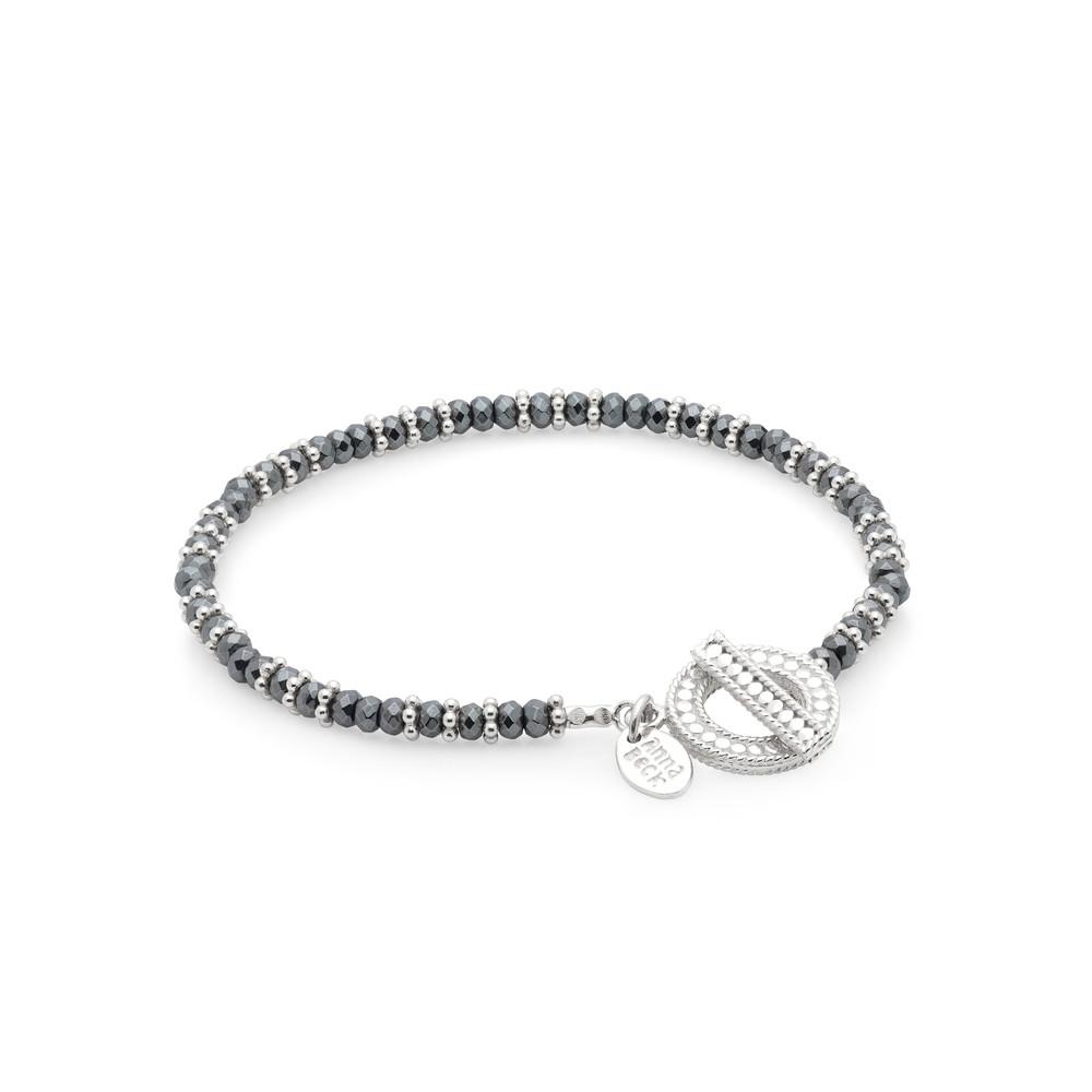 Sama Hematite Beaded Bracelet - Silver