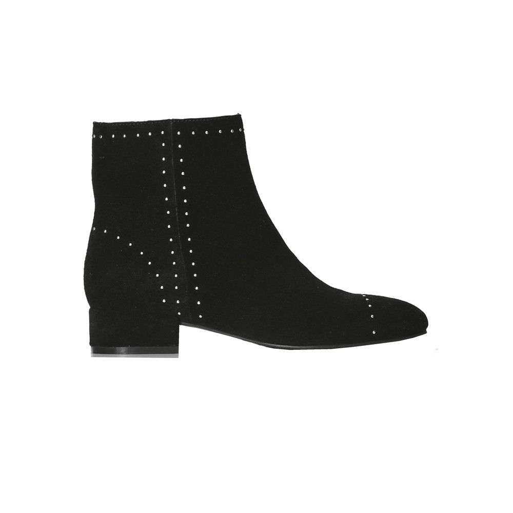 Rose Studs Suede Ankle Boot - Black
