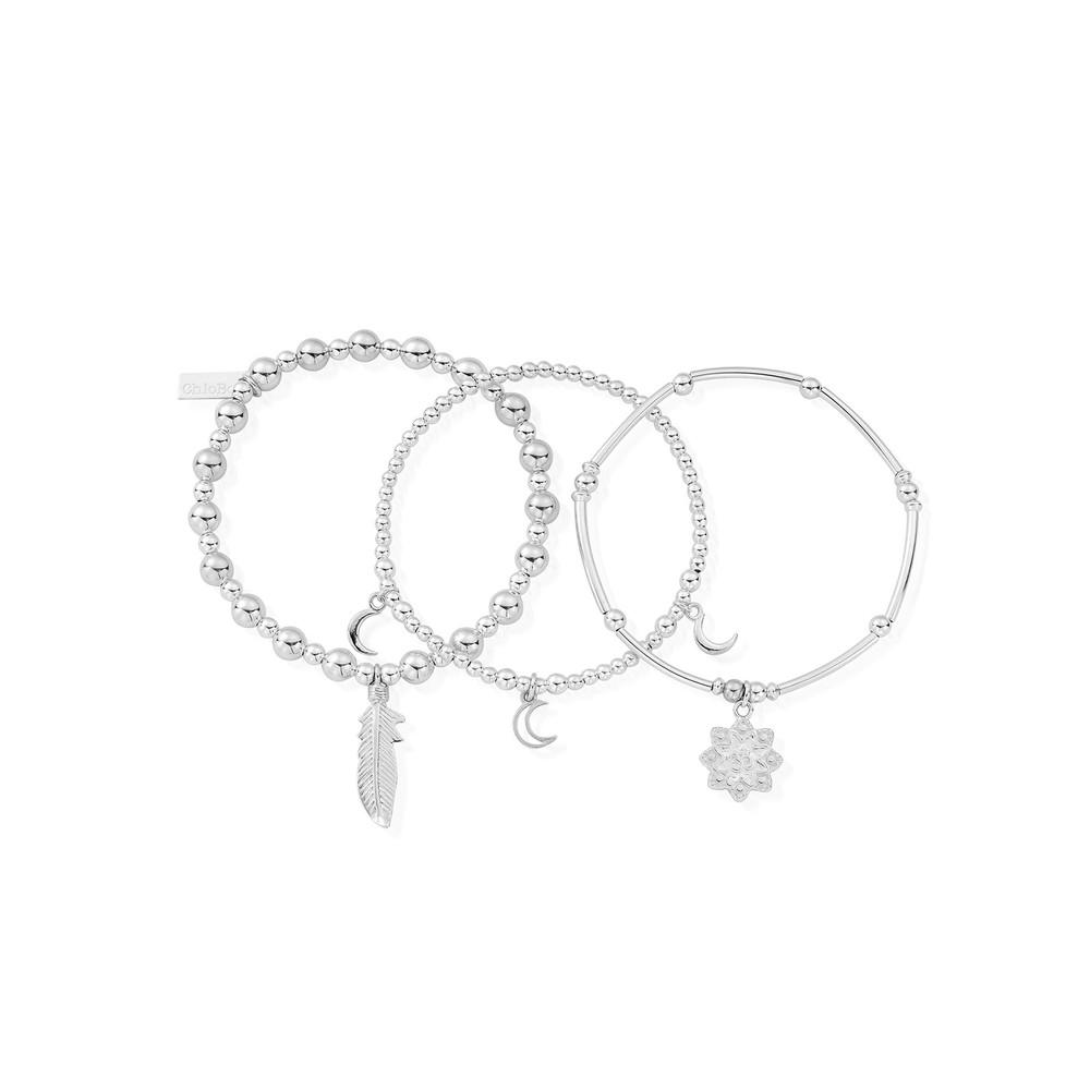 Namaste Stack of 3 Bracelets - Silver