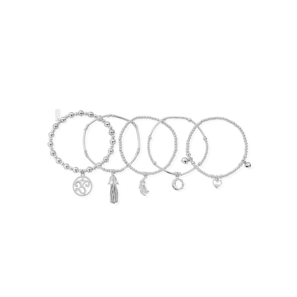 Divine stack of 5 Bracelets - Silver