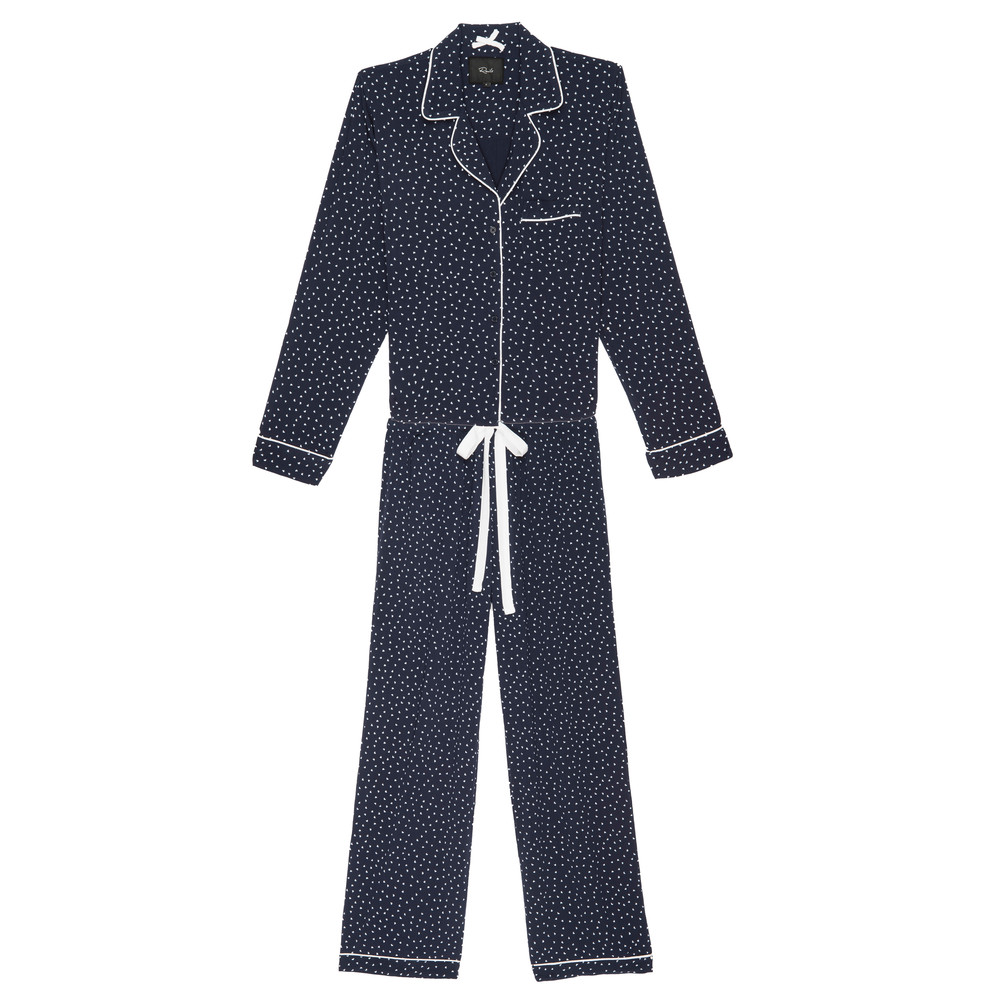 Kenzie Mini Heart Long Sleeve Pyjama Set - Navy