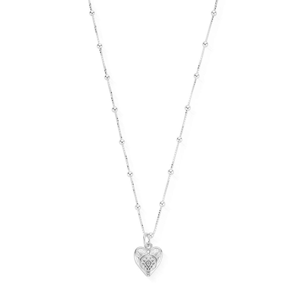 Bobble Chain Heart Necklace - Silver