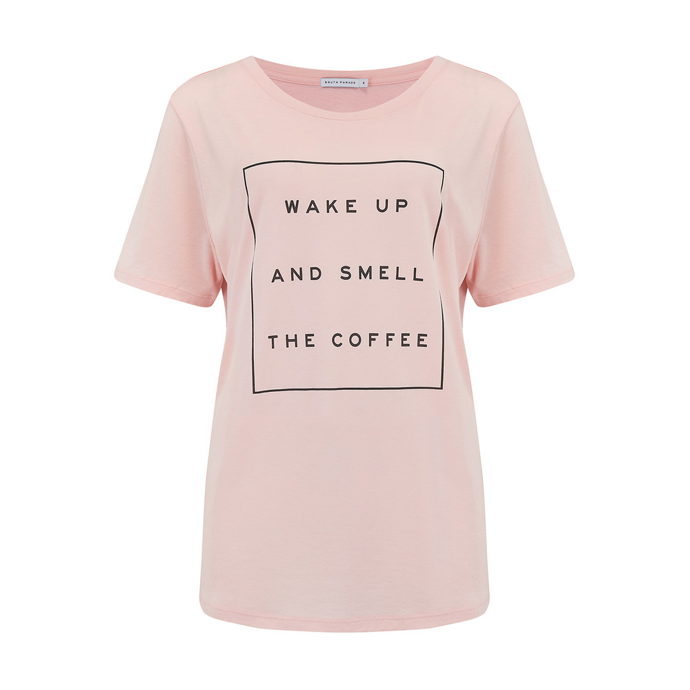 Wake Up And Smell The Coffee Tee - Pink