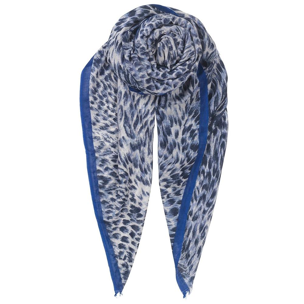 Emira Leopard Print Scarf - Blue Nights