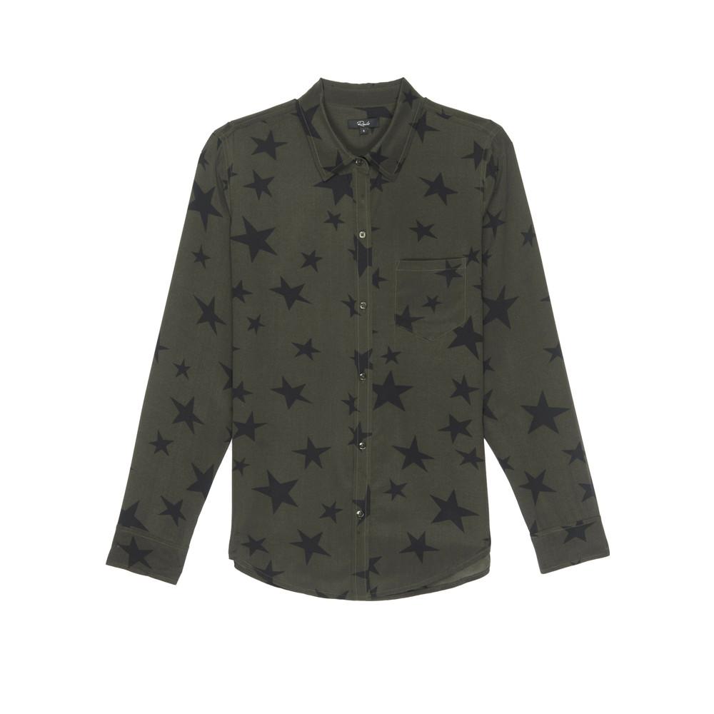 Kate Silk Shirt - Sage Black Star