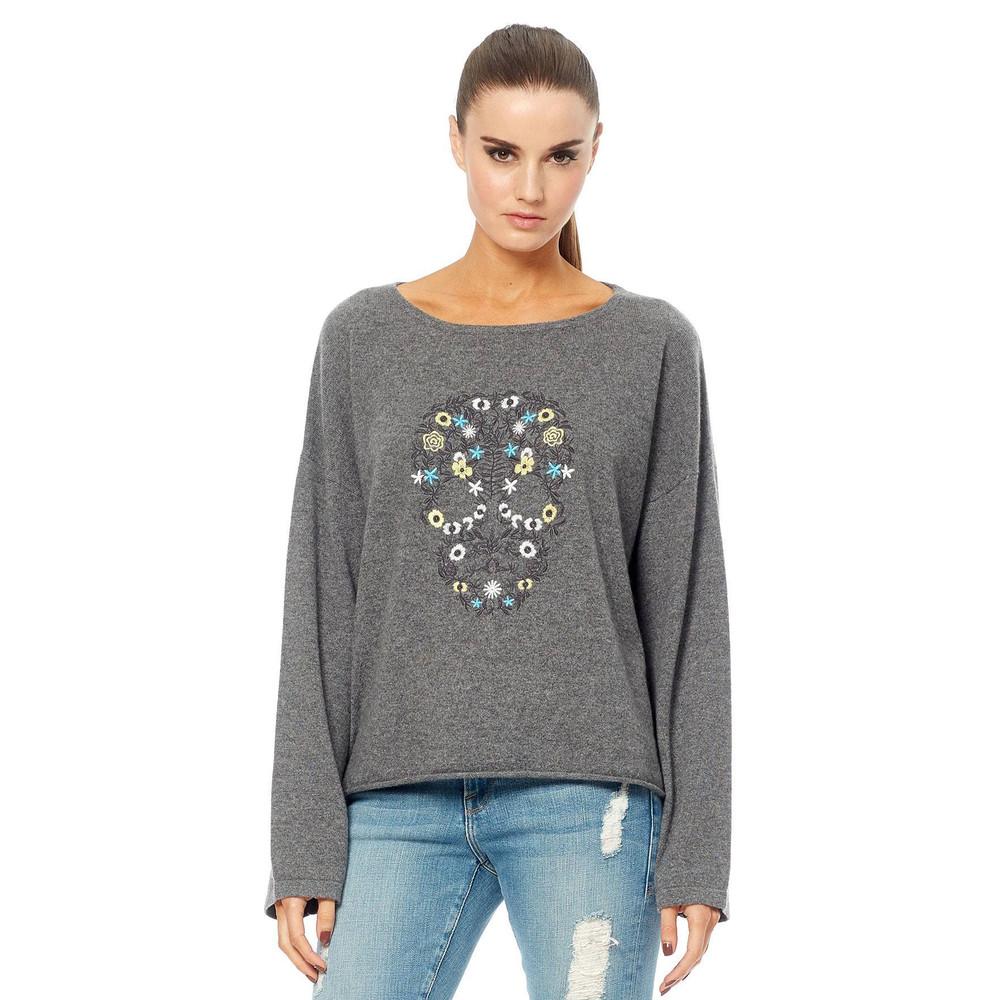 Skull Cashmere Alyssa Embroidered Cashmere Sweater - Charcoal Multi