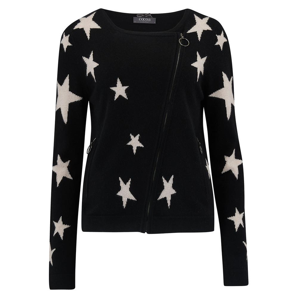 Star Cashmere Biker Jacket - Black & Oatmeal