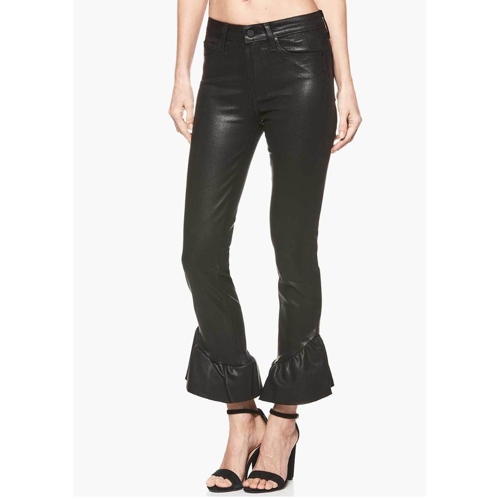 Hoxton Straight Ankle Coated Ruffle Hem Jeans - Black Fog