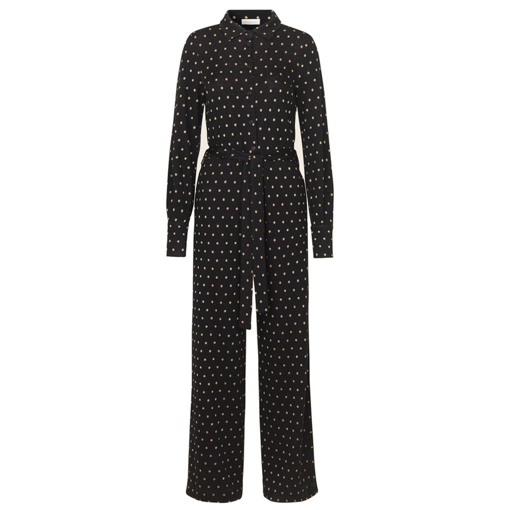 Lana Polka Dot Jumpsuit - Gold Dots Black