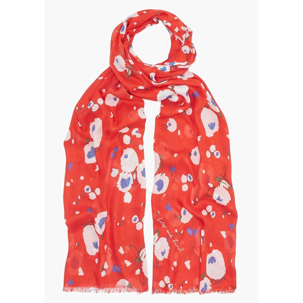 Love Heart Floral Scarf - Red
