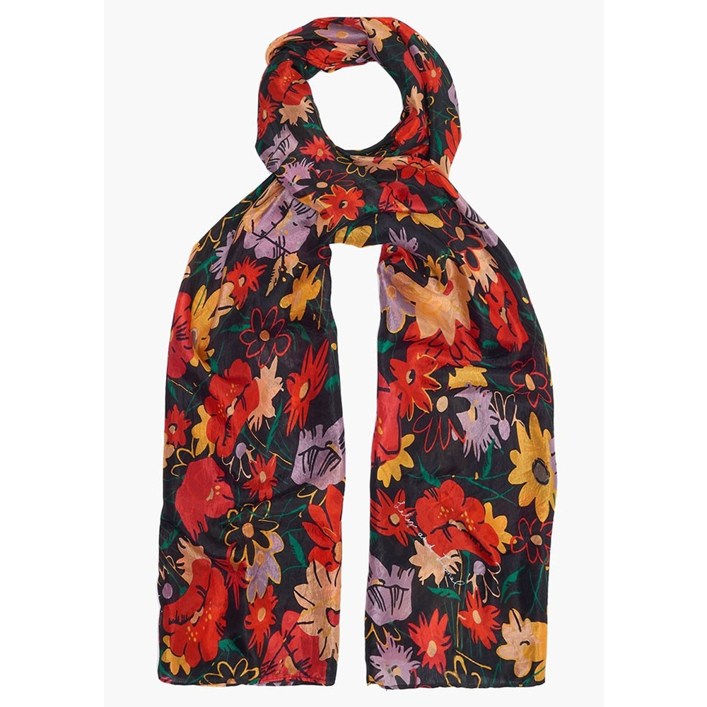 Midnight Floral Silk Scarf - Multi