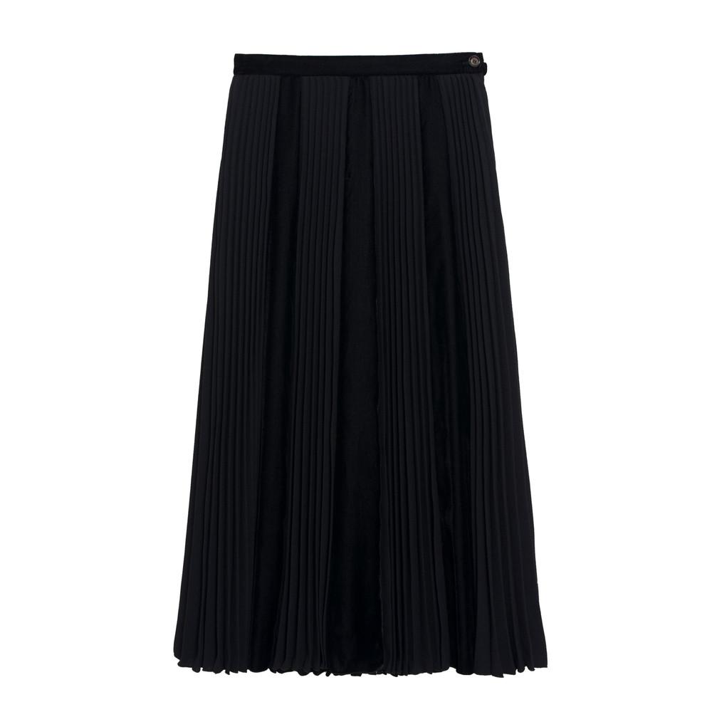 Tornade Midi Pleated Skirt - Black