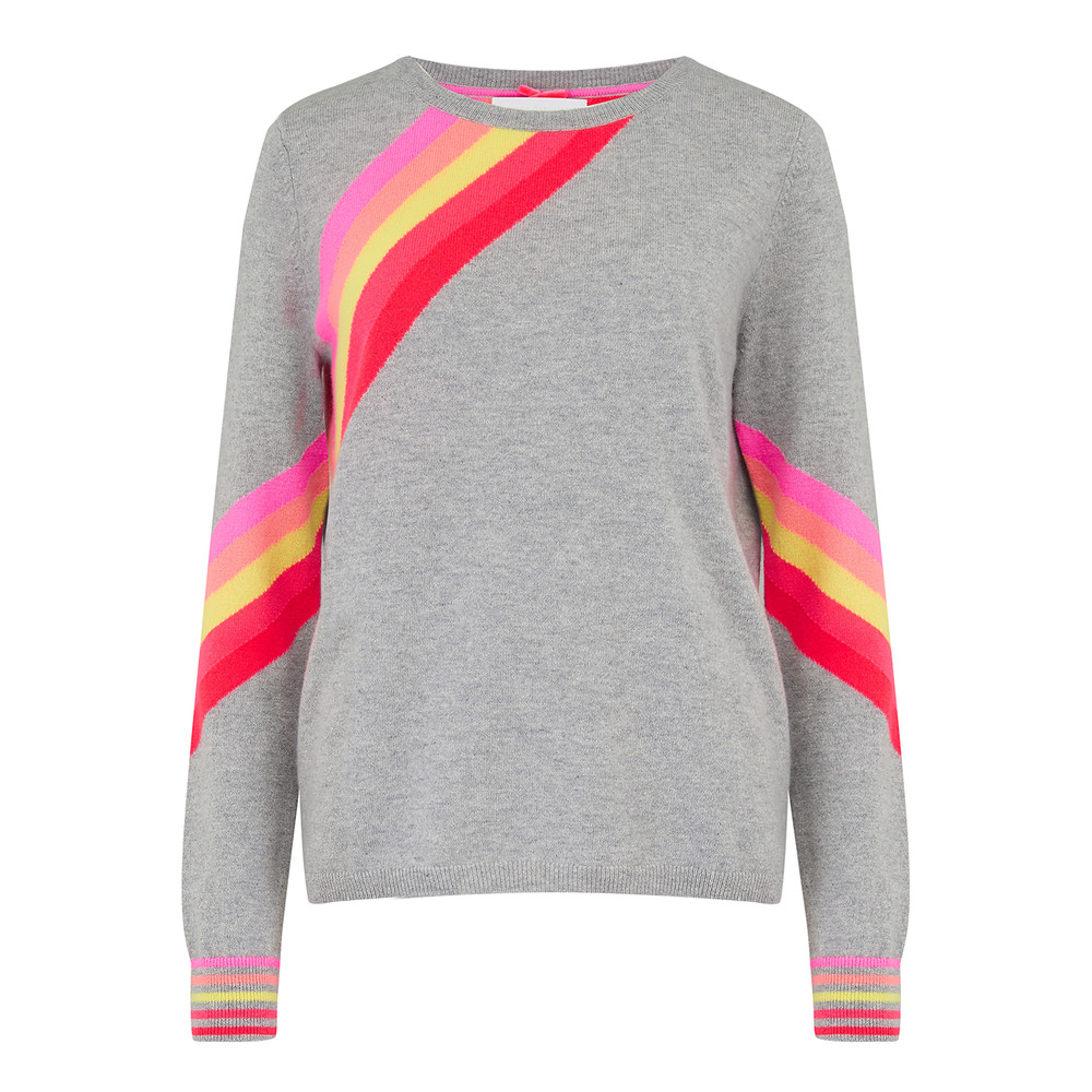 Diagonal Rainbow Stripe Cashmere Sweater - Grey Pink