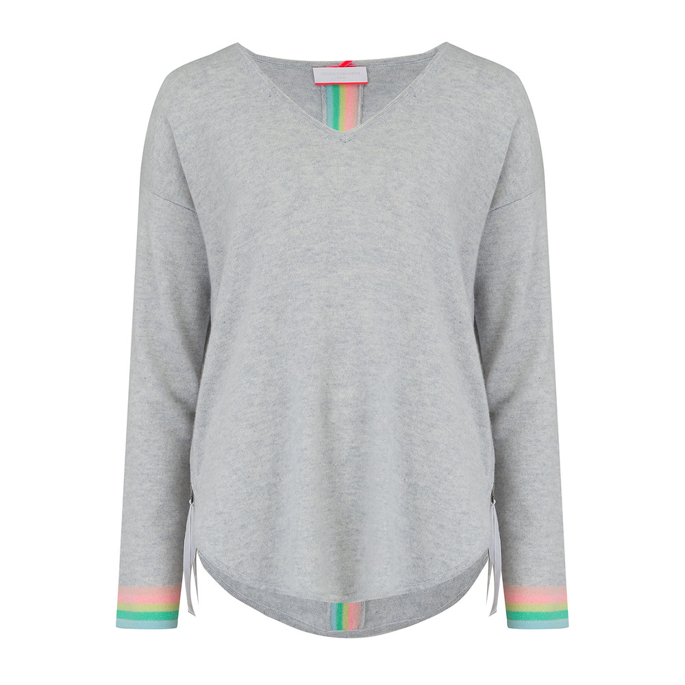 Rainbow Tipped Stripe Cashmere Jumper - Cloud