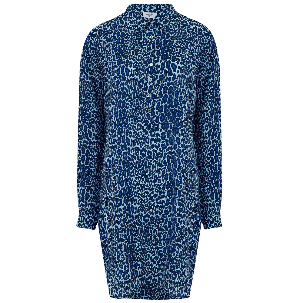 Wilton Silk Shirt Dress - Bluebell Micro Safari