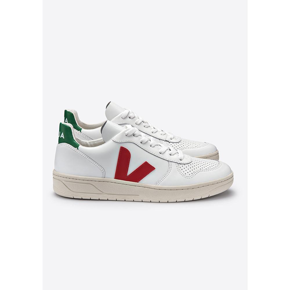 V-10 Leather Trainers - Extra White, Pekin & Emeraude