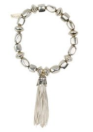 Cube And Disc Tassel Bracelet - Silver