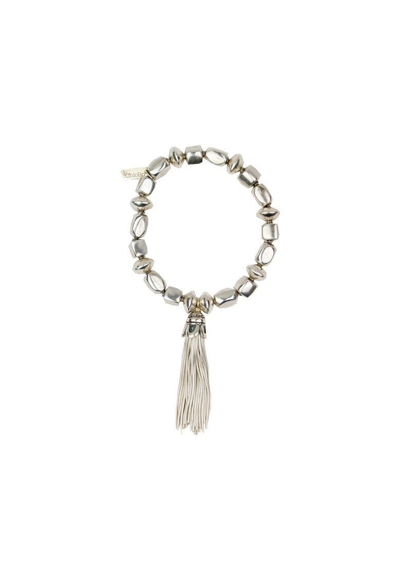 Cube And Disc Tassel Bracelet - Silver main image