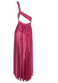 Butter By Nadia Long Satin Ball Gown - Raspberry