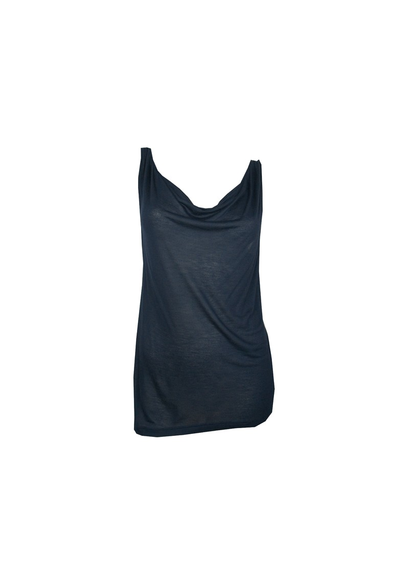 Basic Cowl Neck Cashmere Mix Vest - Navy main image