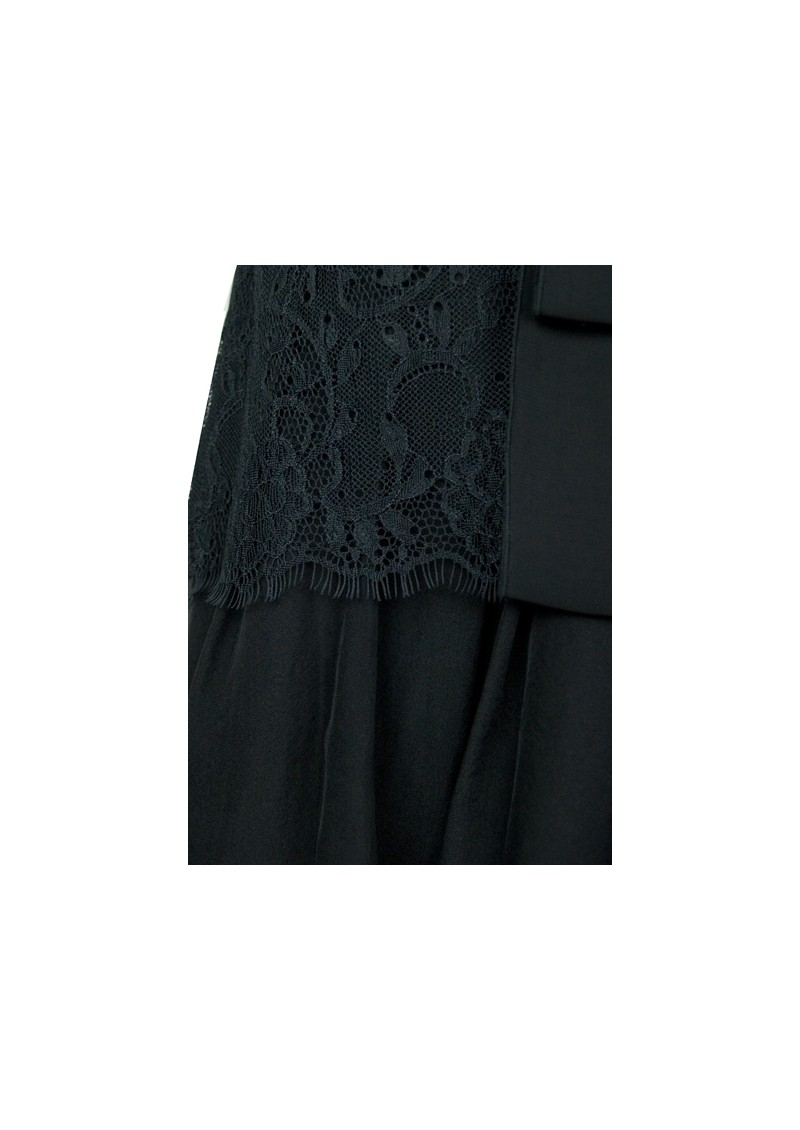 Lace Mix Silk Top - Black main image