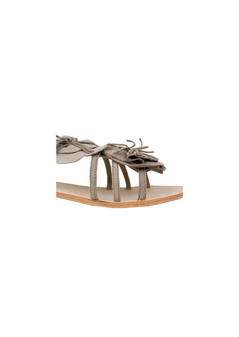 Black Lily Mathilda Leather Sandals - Shadow Grey main image