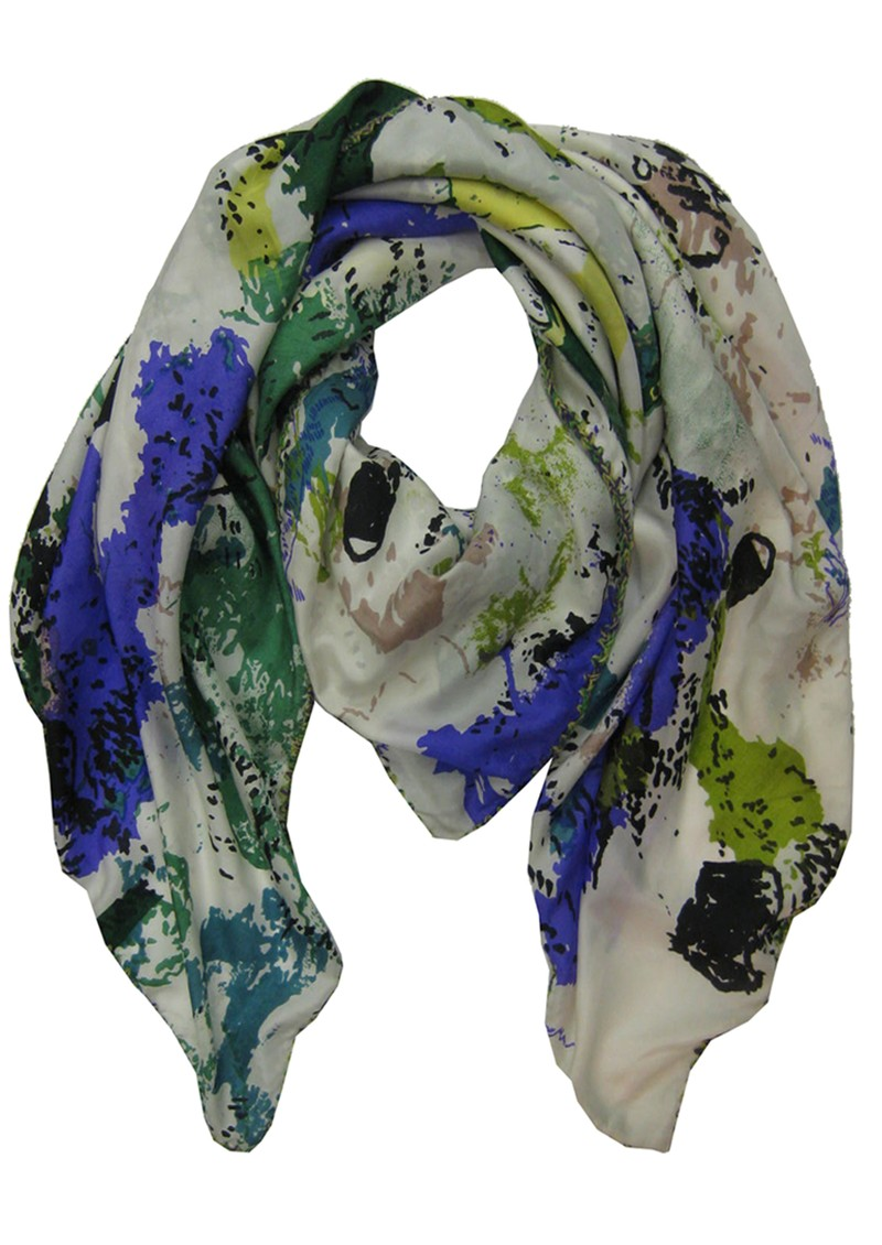 Friendship Flower Silk Scarf - Blue and Green main image