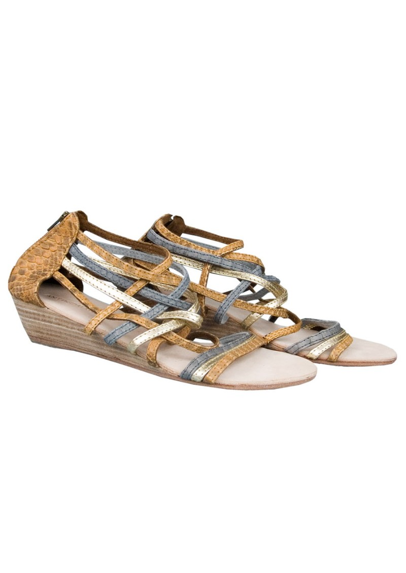 Galan Wedge Leather Sandals - Brown & Metallic main image