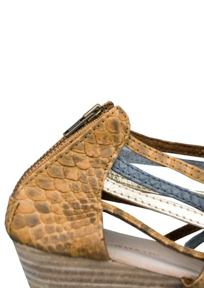 Antik Batik Galan Wedge Leather Sandals - Brown & Metallic main image
