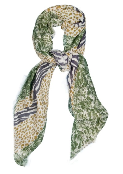 Mercy Delta Union Jack Wild Print Scarf - Oatmeal main image