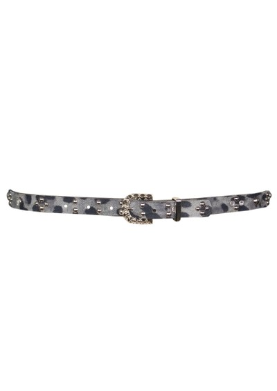Leatherock Leopard Print & Gemstone Leather Belt - Grey  main image