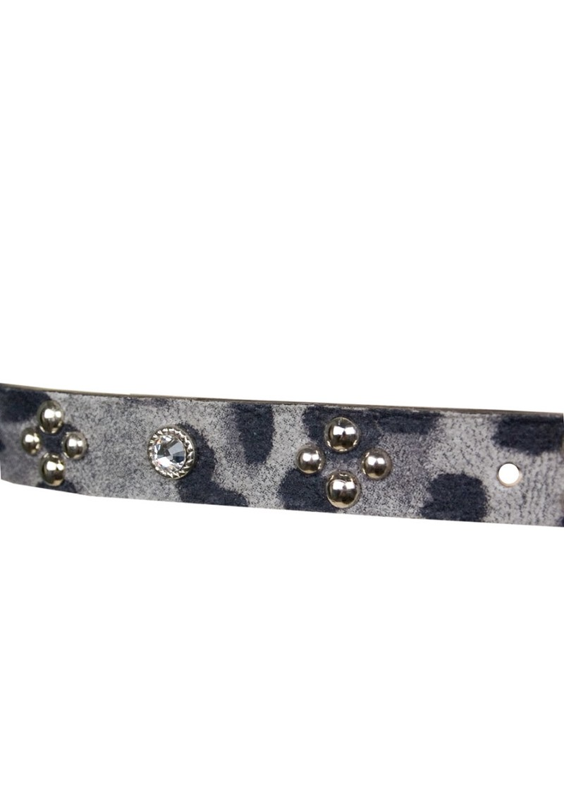 Leopard Print & Gemstone Leather Belt - Grey  main image