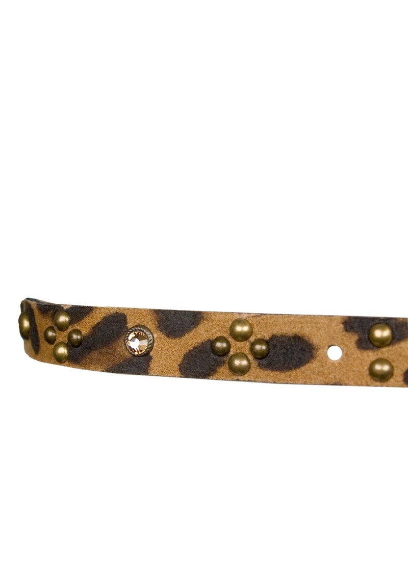 Leopard Print and Gemstone Leather Belt - Tan main image