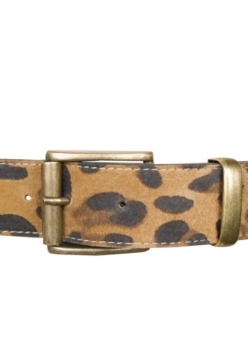 Leopard Print Leather Belt - Tan main image