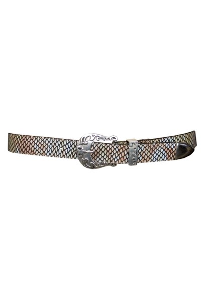 Leatherock Snakeskin Leather Belt - Green & Brown main image