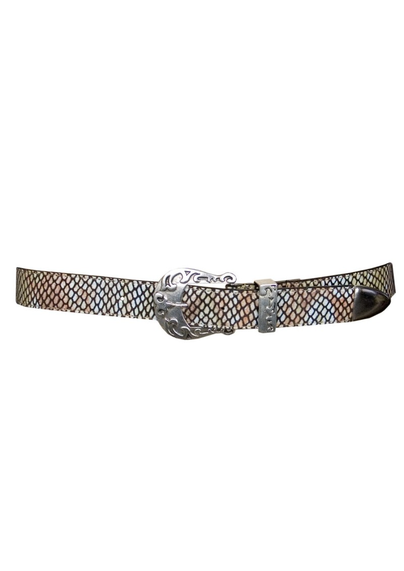 Snakeskin Leather Belt - Green & Brown main image