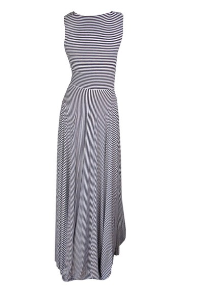 Butter By Nadia Yves Long Jersey Dress - Black & White Stripe main image