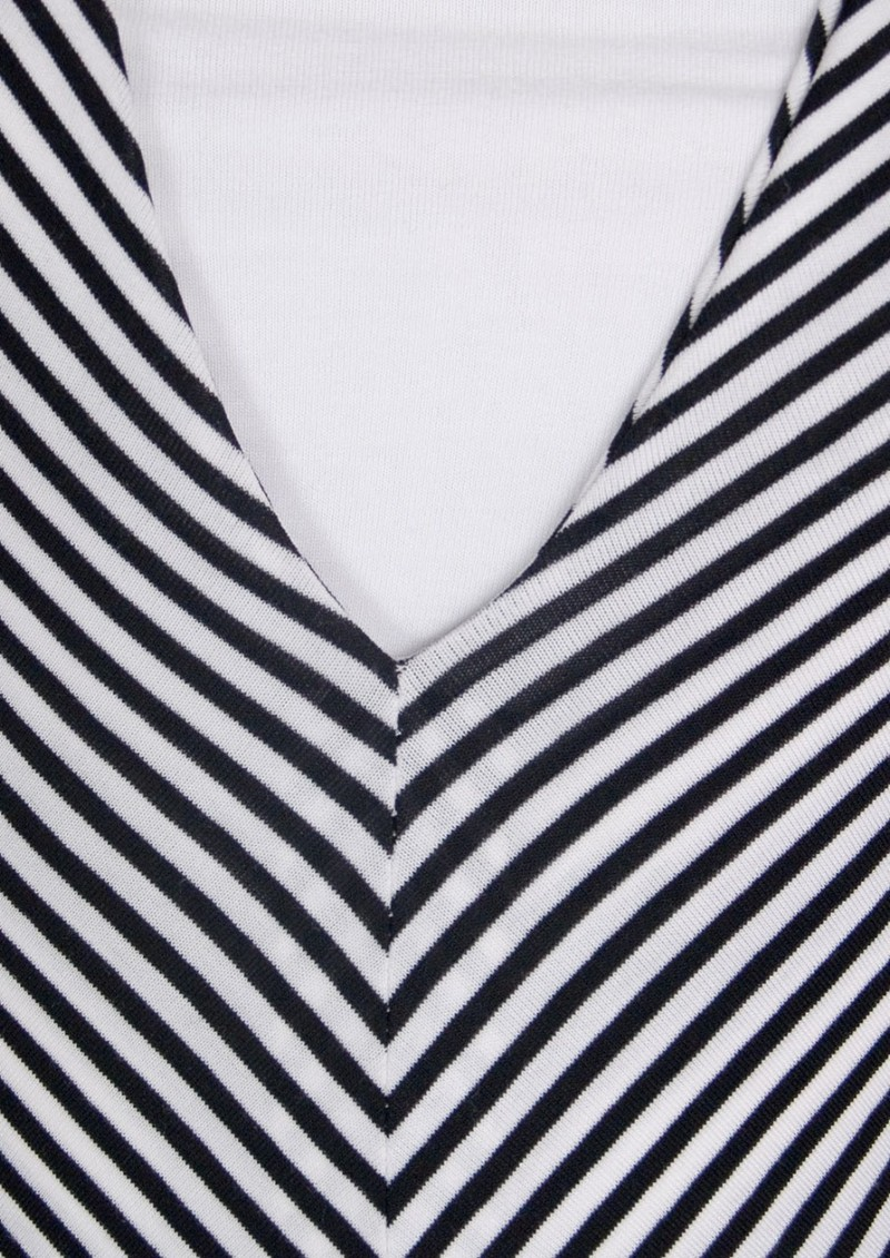 Yves Long Jersey Dress - Black & White Stripe main image
