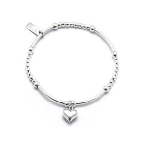Cute Mini with Puffed Heart Charm - SIlver